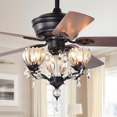 Garlow Matte Black 5-blade Lighted Ceiling Fan with Crystal Flower Cups Chandelier (includes Remote) - 52-inches Diameter