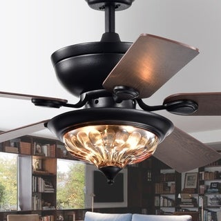 Micago Black 52-inch Lighted Glass Bowl Shade Ceiling Fan with Remote - 52-inches Diameter