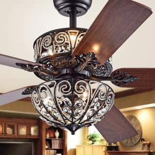 Tisaphon Dual Lamp Crystal Lighted Chandelier (incl Remote and 2 Color Option Fan Blades) - 52-inches Diameter