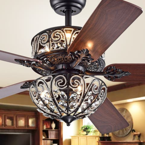 Tisaphon Dual Lamp Crystal Lighted Fan Chandelier - 52-inches Diameter