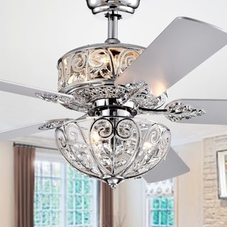 Hegasal Chrome Dual Lamp Crystal Lighted Chandelier (incl Remote and 2 Color Option Fan Blades) - 52-inches Diameter