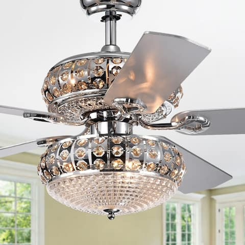 Becsdale Dual Lamp 52-Inch 5-Blade Lighted Ceiling Fan with Crystal Chandelier (incl Remote and 2 Color Option Fan Blades)