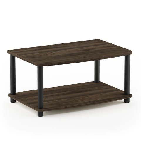 Furinno Turn-N-Tube No Tools 2-Tier Elevated TV Stand, Columbier Walnut/Black