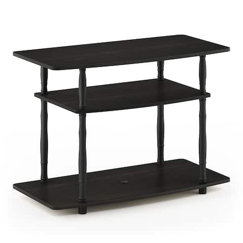 Furinno Turn-N-Tube No Tools 3-Tier TV Stands with Classic Tubes, Espresso/Black