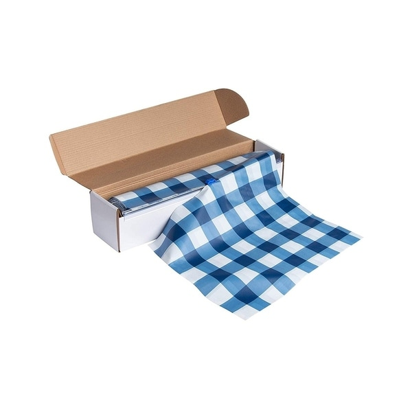 """54"""" x 98 Feet Plastic Banquet Party Table Cover Roll Disposable Tablecloths Blue"""