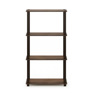 Furinno Turn-S-Tube 4-Tier Multipurpose Shelf Display Rack with Square Tube, Black/Grey