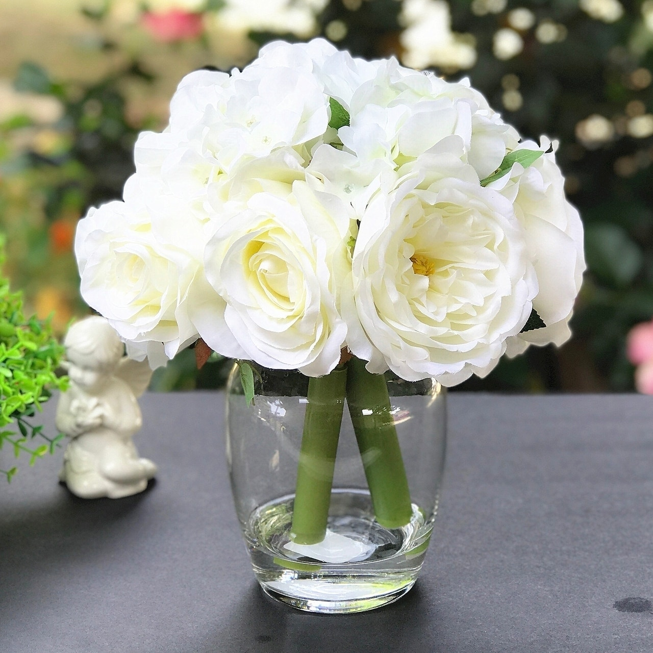 Enova Home Peony Rose And Hydrangea Mixed Faux Flower Arrangement With Clear Glass Vase Overstock 28566971 Cream