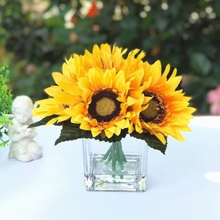Enova Home 6 Heads Silk Sunflower Arrangement in Clear Glass Vase with Faux Water - Orange
