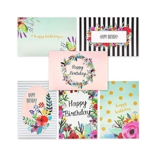 """48-Pack Happy Birthday Cards w/Envelopes, 6 Watercolor Floral Designs, 4"""" x 6"""""""