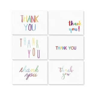 144-Count Rainbow Font Design Bulk Thank You Note Card with Envelope Included