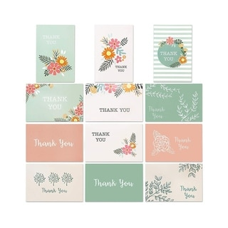 96-Pack Floral Design Thank You Note Cards Bulk Box Set with Envelope Included