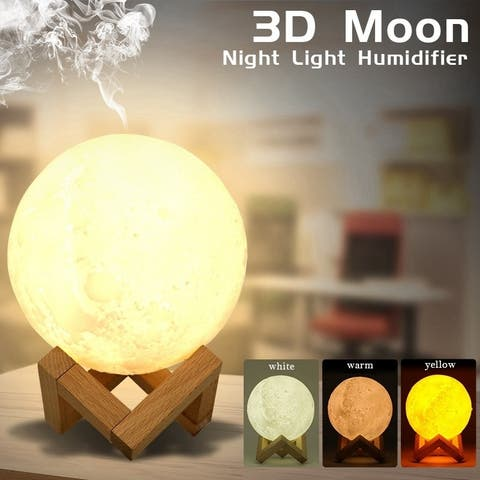 3D Lunar Light Night Light Humidifier Touch Tricolor USB Humidifier Air Aroma Diffuser