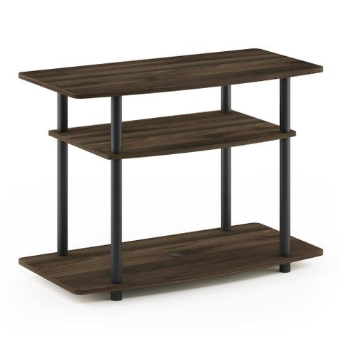 Furinno 13192 Turn-N-Tube No Tools 3-Tier TV Stands, Columbia Walnut/Black