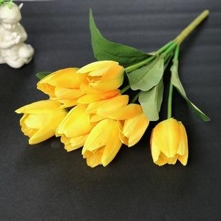 Enova Home Artificial Yellow Tulip Silk Flower Arrangement set of 2