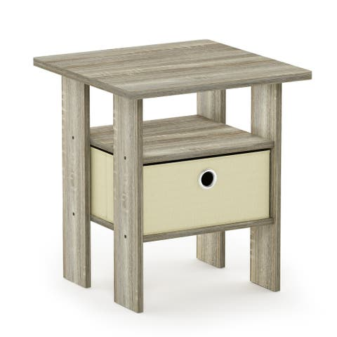 Furinno Andrey End Table Nightstand with Bin Drawer, Sonoma Oak/Ivory
