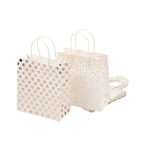 """16-Pack Rose Gold Foil Paper Gift Bags with Handles Treat Part Goody Bags 9 x 8"""""""
