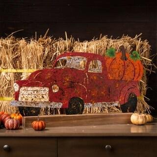 """Glitzhome 26""""L Farmhouse Rusty Truck Porch Decor"""
