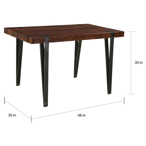 """Carson Carrington Tomeshult Honey Brown Dining Table - Honey brown and antique gunmetal - 48""""W x 30""""L x 30""""H"""