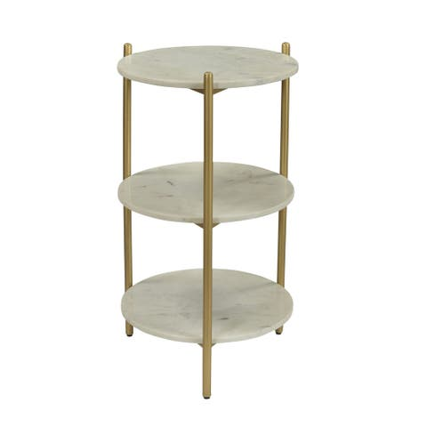 """Somette 3-Tier Accent Table, White Marble & Gold Powder Coat - 16""""L x 16""""W x 28.5""""H"""