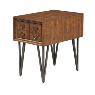 "Somette Oxford One Drawer Chairside Table, Distressed Brown - 16""L x 24""W x 24""H"