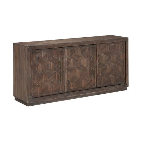 "Somette Three Door Media Credenza, Tumbler Dark Brown - 63""W x 17""L x 29.5""H"