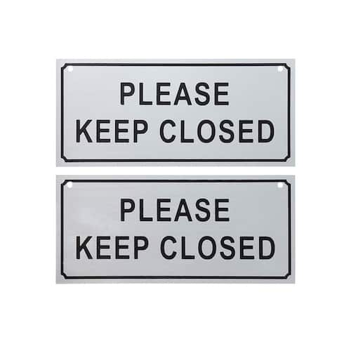 2-Pack Please Keep Closed Gate Signs Property Fence, Silver - 7.8 x 3.5 Inches