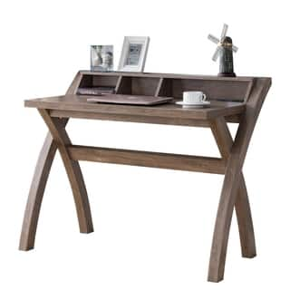 Multifunctional Wooden Desk with Electric Outlet and Trestle Base, Brown
