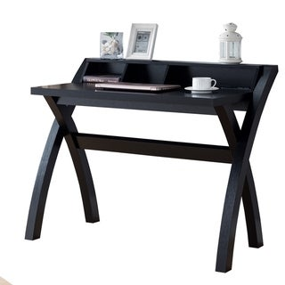 Multifunctional Wooden Desk with Electric Outlet and Trestle Base, Black