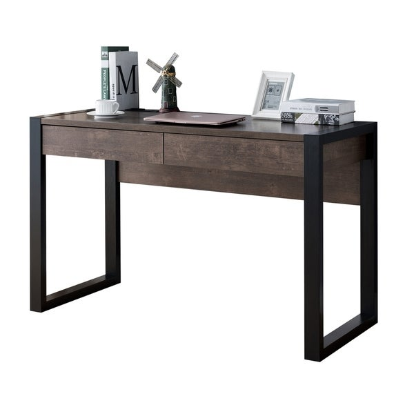 Rectangular Wooden Desk with Electric Outlet and Sled Leg Support, Black and Brown