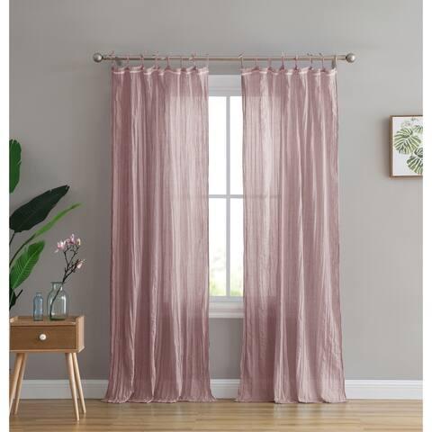 Peach & Oak Clover Tie Top Single Curtain Panel