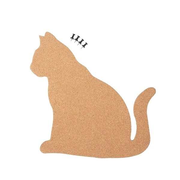 "Cat Shaped Corkboard Bulletin Pin Board, 4 Push Pins Included, 11.5"" x 11"""