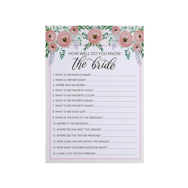 25 Cards Each Pink Purple Flowers 5-Pack Bridal Shower Games Set of 5 Games