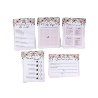 "5 Bridal Shower Games Floral Bundle 50 Cards Each For Pre-Wedding Party, 5"" x 7"""