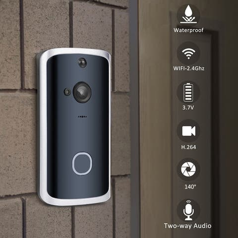 Smart Doorbell Wireless WiFi Night Vision App View 2-way Talk HD Security DoorBell Chime Remote Home Monitoring - Black
