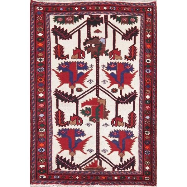 "Persian Bakhtiari Oriental Hand Knotted Wool Vintage Area Rug - 5'1"" x 3'6"""