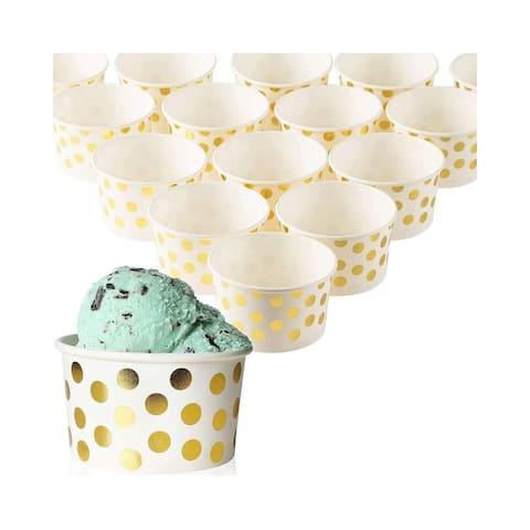 50-Count Paper Ice Cream Cups Yogurt Dessert Gold Polka Dot Party Bowls 8-Oz - White