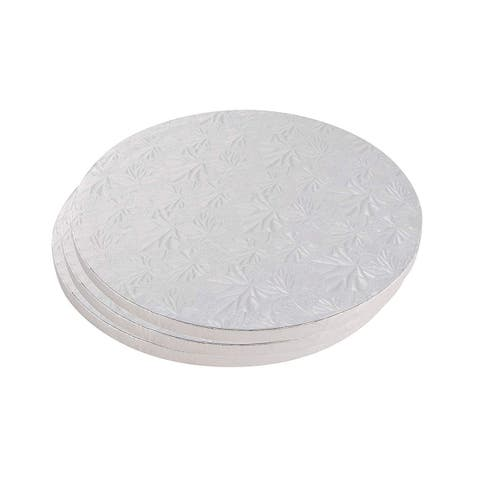 3PCS Cake Boards Round Paper Wedding Birthday -Silver Foil, 8 inches in Diameter - White