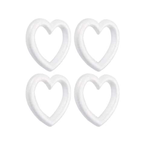 4-Pack Polystyrene Heart Shaped Foam Wreath, Open Heart Shaped DIY Supplies