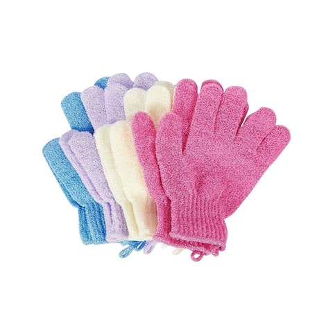 Juvale Exfoliating Gloves for Shower Body and Face (4 Pairs) - Multi