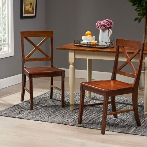 Bostwick Farmhouse Acacia Wood Dining Chairs (Set of 2) by Christopher Knight Home