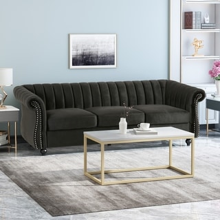 Bowie Modern Glam Velvet 3 Seater Sofa by Christopher Knight Home