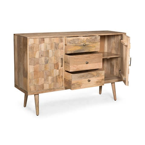 Latimer Mid-Century Modern Mango Wood 3 Drawer Sideboard with 2 Doors by Christopher Knight Home