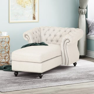 Lancelot Modern Glam Fabric Chesterfield Chaise Lounge by Christopher Knight Home