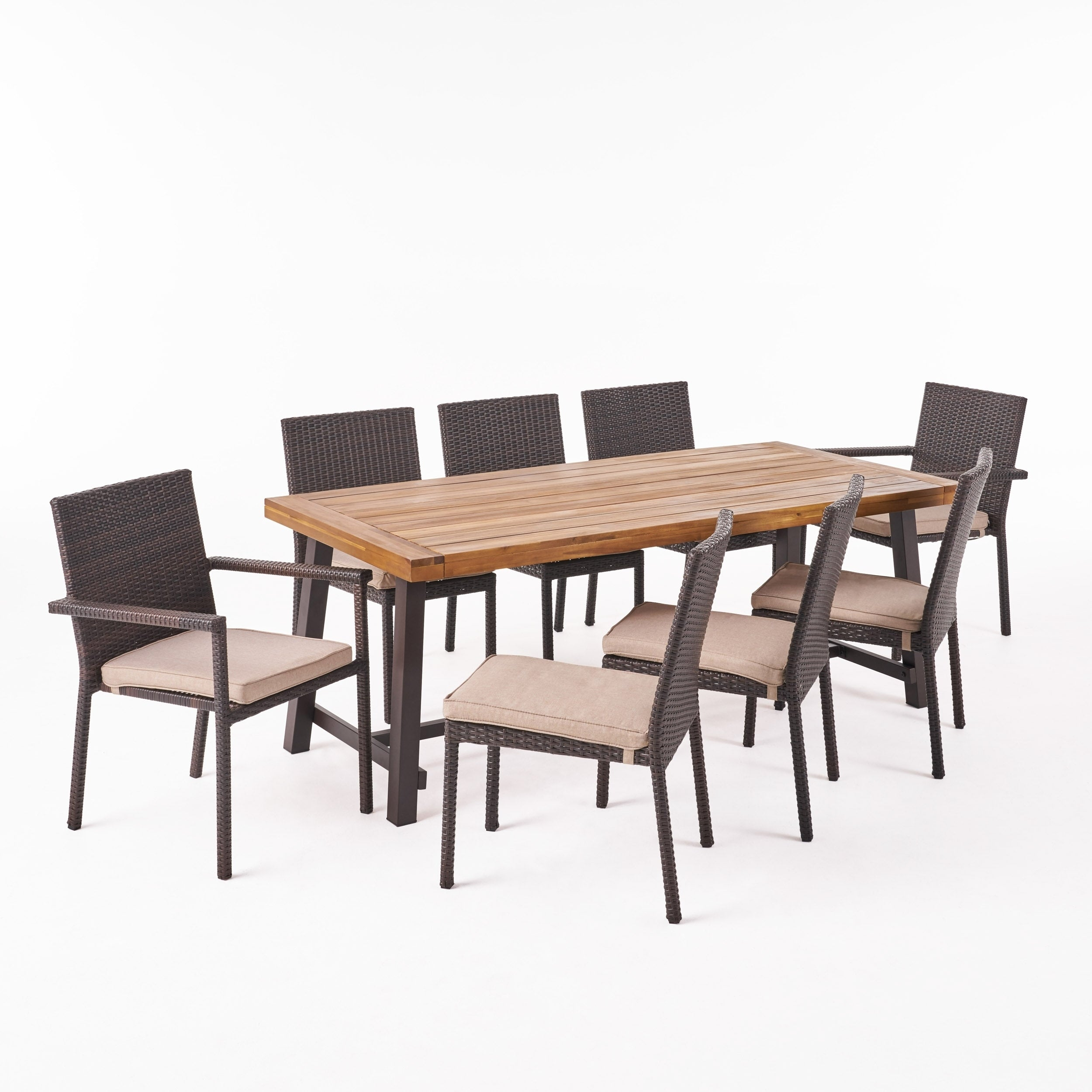 Outdoor 8 Seater Wood And Wicker Dining