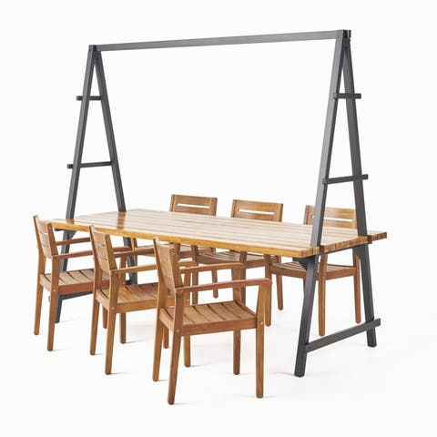 Terabithia Outdoor Modern 6 Seater Acacia Wood and Iron Planter Dining Set by Christopher Knight Home