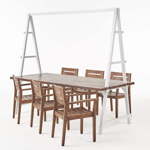 Terabithia Outdoor Modern 6 Seater Acacia Wood and Planter Dining Set by Christopher Knight Home