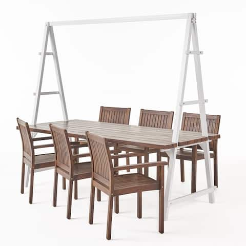 Huckleberry Outdoor 6 Seater Acacia Wood and Planter Dining Set by Christopher Knight Home