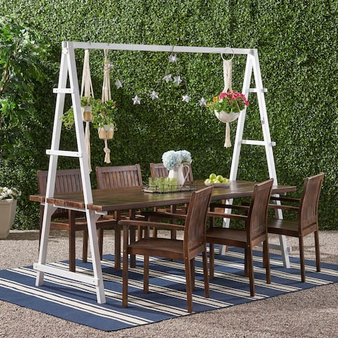 Huckleberry Outdoor 6 Seater Acacia Wood and Iron Planter Dining Set by Christopher Knight Home