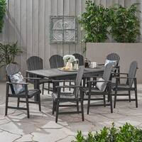Mantero Outdoor 8 Seater Acacia Wood Adirondack Dining Set by Christopher Knight Home
