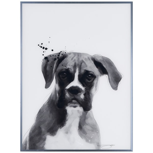 """Boxer"" Black and White Dog Wall Art Reverse Printed Glass Encased with a Gunmetal Anodized Frame"